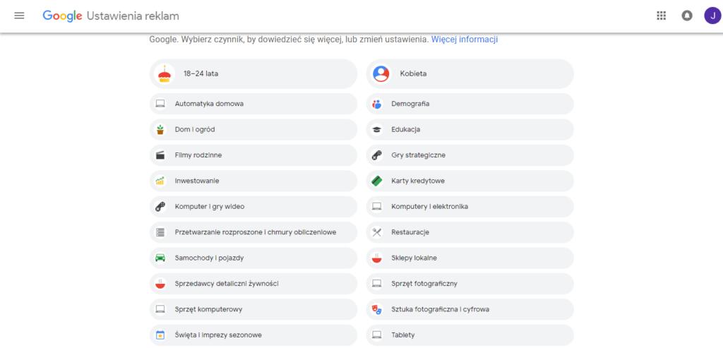 dane w google reklamy