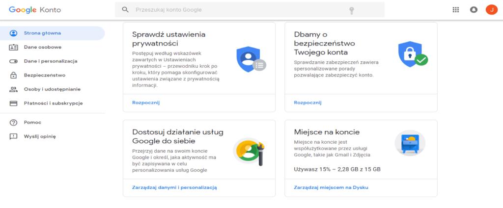 dane w google