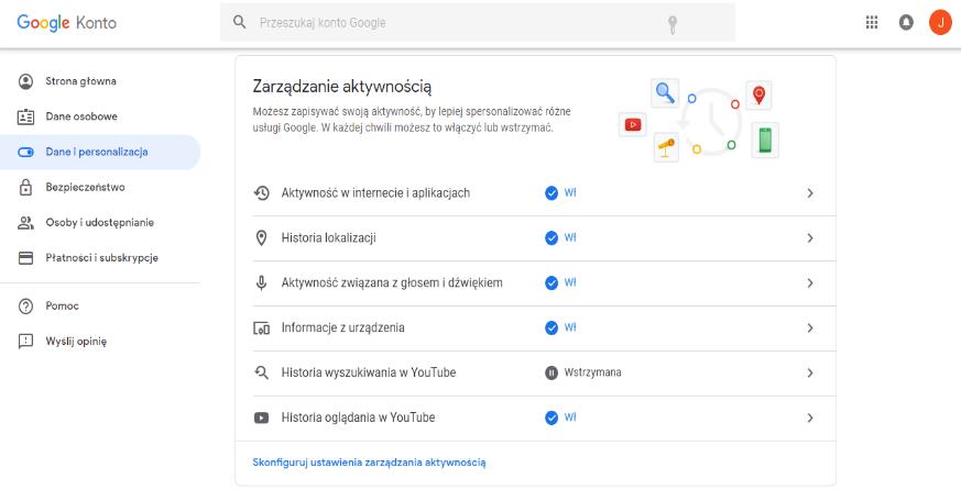 zarządzanie danymi w google