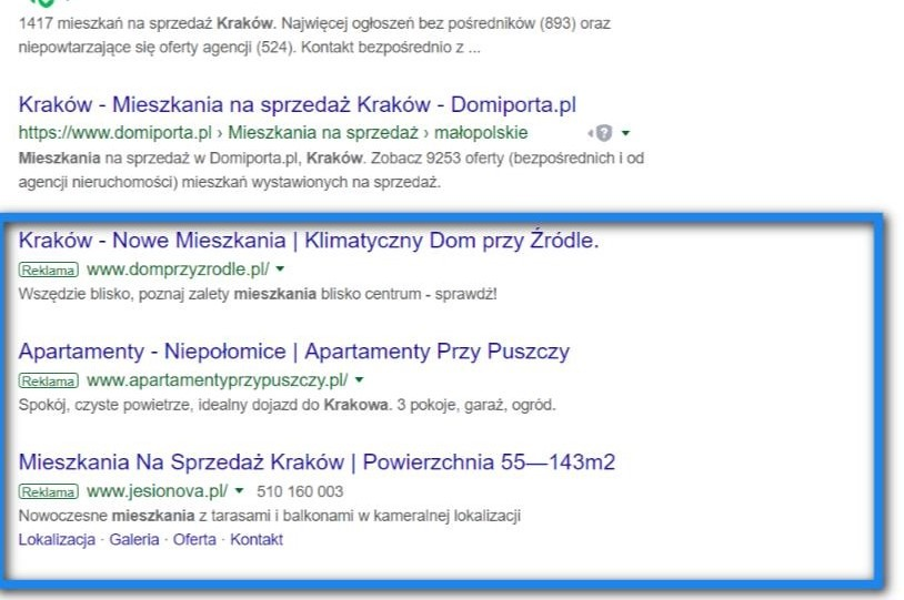 Przykład wyników wyszukiwania dla frazy 'mieszkania kraków'. Dół strony.