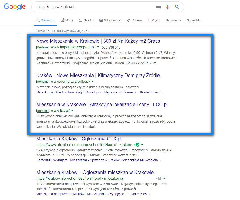 Przykład wyników wyszukiwania dla frazy 'mieszkania kraków'. Góra strony.