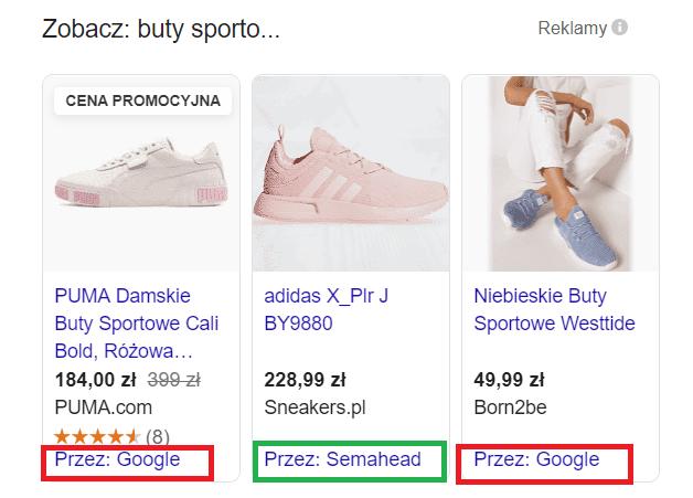 """Przykładowo dla hasła """"buty sportowe damskie"""" wszystkie wyniki poza środkowym są emitowane przez porównywarkę zakupy Google"""