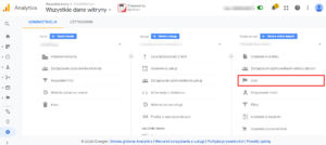 Wskazanie celów w Google Analytics.