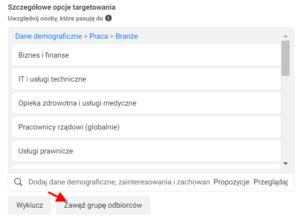 Menedżer Reklam - Facebook Ads - Zawężanie grupy odbiorców