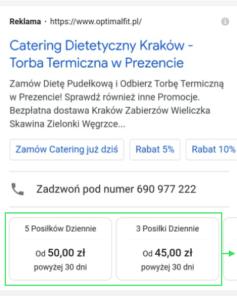 Rozszerzenie cen - przykład 2