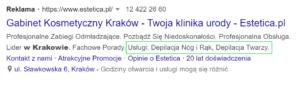 Rozszerzenie informacji w witrynie - przykład.